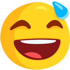 Grinning Face With Sweat Emoji in Messenger
