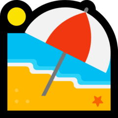 Spiaggia con ombrellone Emoji Windows