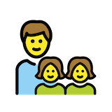 Family: Man, Girl, Girl Emoji in Openmoji