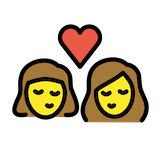 Kiss: Woman, Woman Emoji in Openmoji