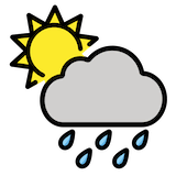 Sun Behind Rain Cloud Emoji in Openmoji