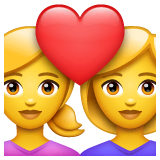 Due donne con cuore Emoji WhatsApp