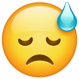 Downcast Face With Sweat Emoji on WhatsApp