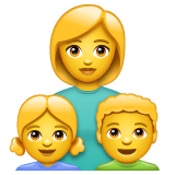 Family: Woman, Girl, Boy Emoji on WhatsApp