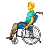 Man In Manual Wheelchair Emoji on WhatsApp