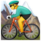 Man Mountain Biking Emoji on WhatsApp