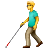 Man With White Cane Emoji on WhatsApp