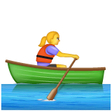 Woman Rowing Boat Emoji on WhatsApp
